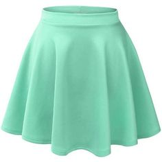 Nine Town Women's Versatile Stretchy Pleated Flare Skater Skirt High... ($10) ❤ liked on Polyvore featuring skirts, mini skirts, short pleated skirt, high waisted mini skirt, flared mini skirt, green mini skirt and short mini skirts