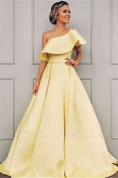 A Line One Shoulder Satin Yellow Simple Prom Dress With Ruched Prom Dresses, Yellow Prom Dress, Prom Dress A-Line, Prom Dress Simple Prom Dresses 2020 Gorgeous Prom Dresses, Simple Prom Dress, Prom Party Dresses, Simple Dresses, Elegant Dresses, Evening Dresses, Wedding Dresses, Summer Dresses, Prom Gowns