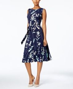 Charter Club Printed Fit & Flare Dress, Only at Macy's | macys.com