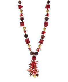 Loving this Red Pearl & Gemstone Tassel Pendant Necklace on #zulily! #zulilyfinds
