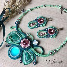 Soutache Necklace, Necklace Set, Handmade Beaded Jewelry, Bracelets, Creative Ideas, Jewelery, Patterns, Accessories, Fashion