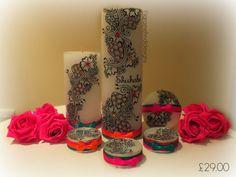 Personalised Wedding Candle Set. Henna/Mehndi Inspired. Table Decor Centrepiece on Etsy, $44.44