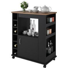 Black Kitchen Beverage Cart Mobile Kitchen Island Cart Portable Shelves Storage