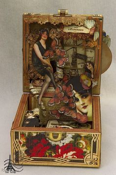 A wonderful altered Fashionista box by Tati Scrap! It even has a light inside to give it extra style and beauty #graphic45
