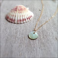 Dainty Mother of Pearl Necklace w/ Tiny MOP disc & 14K Gold Filled Chain / Minimalist Nacre Jewelry by MuffyandTrudy on Etsy
