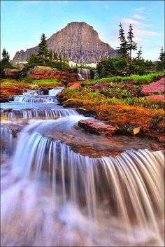 Cascading Falls with Mt. Reynolds in the background at Glacier National Park, Montana - Google+