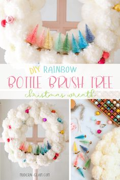 Christmas wreath with pom poms and bottle brush trees. Make this rainbow holiday wreath for your front door. #christmaswreath #colorful #christmasDIY #christmascraft #rainbow