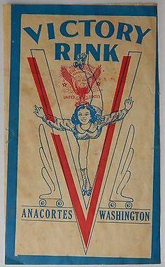 """Vtg VICTORY ROLLER RINK Skating Decal ANACORTES, WASHINGTON Old """"V"""" Label"""