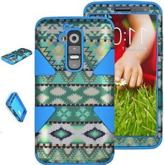 myLife Multi-colored/Blue {Classy Bohemian Design} 3 Piece Neo Hybrid Case for the for the LG G2 Smartphone (External Rubberized Snap On Har...