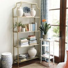 """Dimensions: Overall: 80""""H X 36""""W X 12""""D Top Glass Surface: 23""""W X 10""""D Glass Shelves: 34""""W X 10""""D Spacing Btwn Shelves: 17 1/2""""H Top & 18 1/2""""H All Others Clearance Under: 5""""H Construction: Handmade of glass and steel. Chloe Wide Etagere"""