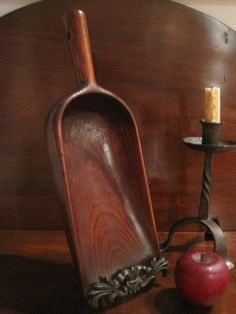 Antique 1800's New England Shaker Cherry Wooden Apple Butter Scoop Sold by North Bayshore Antiques