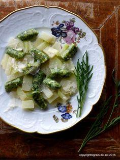 grain de sel - salzkorn: Frisches Kraut: Rucola-Ziegenkäse-Gnocchi mit Kohlrabi