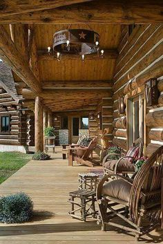 From Rustic Cabin Life I LOVE this chandelier idea! Log Cabin Living, Log Cabin Homes, Log Cabins, Barn Homes, Cabin Porches, Rustic Porches, Rustic Pergola, Front Porches, Cabin In The Woods