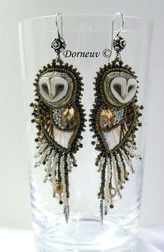Chouette de laura (6) Owl Earrings, Beaded Earrings, Beaded Jewelry, Handmade Jewelry, Owl Jewelry, Jewelry Design, Jewlery, Beautiful Owl, Owl Art