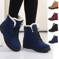Fashion Women Fur Lined Winter boots Leather With velvet Warm Snow boots quality Girls Ankle-boots Z