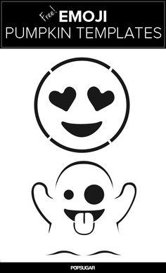Make an emoji jack-o'-lantern with these free pumpkin templates!