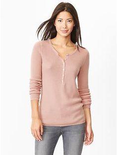 Waffle knit henley sweater | Gap