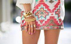Shop from the best fashion sites and get inspiration from the latest tribal pattern. Aztec Skirt, Tribal Skirts, Aztec Dress, Neon Skirt, Looks Style, Style Me, Green Style, Sequin Mini Skirts, Sequin Skirt