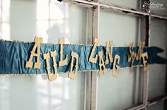 Auld Lang Syne ribbon banner at A Sparkling Peacock Blue Happy New Year's Eve Party!