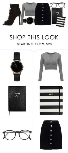 """""""--"""" by bananaruth ❤ liked on Polyvore featuring Freedom To Exist, Sloane Stationery, Kate Spade, RetroSuperFuture, Miss Selfridge and River Island"""