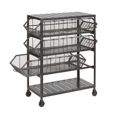 Industrial chic at your fingertips! The Evington Side Table by Go Home has an iron frame and three large storage baskets, for easy craft, display, or organizational use. Dimensions: L x W x H Material: Iron Minimum one per order Iron Storage, Storage Cart, Storage Ideas, Vintage Industrial Furniture, Modern Furniture, Furniture Design, Furniture Storage, Dining Furniture, Rolling Cart With Drawers