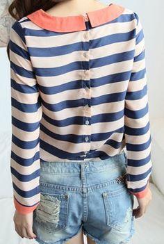 Blue Apricot Striped Long Sleeve Lapel Blouse