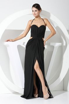 Simple Style Halter Black Evening Dress with Hole