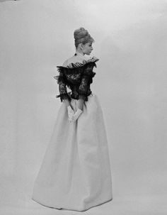 1962    Evening dress of ivory silk gazar and black lace, photo by Cecil Beaton. thank you to skorver1