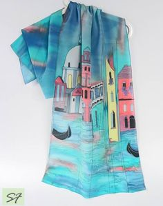 Blue Silk Scarf Hand Painted Silk scarf Venice by SilkFantazi Venice Painting, Silk Painting, Silk Scarves, Blue Scarves, Silk Art, Handmade Scarves, Silk Shawl, Scarf Styles, Womens Scarves
