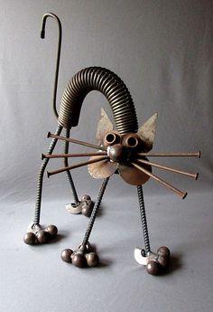 "VINTAGE Hand Made YARD ART CAT Welded Steel Folk Art  17 1/2"" JUNK SCULPTURE | Art, Art from Dealers & Resellers, Sculpture & Carvings | eBay!"