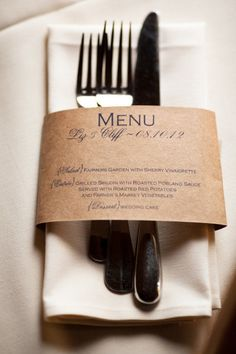 Love this simple Kraft Paper Menu - great for a wedding or really any occasion.  Kraft Paper and Burlap are hot right now!