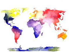 Watercolor World Map    by Kelleneelise
