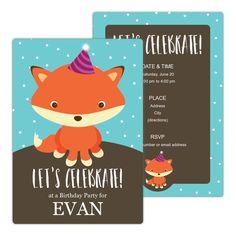 Cute Fox Birthday Party Invitation