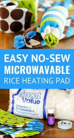 Easy No-Sew Rice Heating Pad -- these homemade microwaveable rice heating pads t. Easy No-Sew Rice Heating Pad -- these homemade microwaveable rice heating pads took less than 5 minutes to make, start t. Rice Bag Heating Pad, Homemade Heating Pad, Microwavable Heating Pad, Rice Warmers Diy Heating Pads, Homemade Heat Packs, Neck Heating Pad, Diy Rice Bags, Diy Bags, Diy Heat Pack