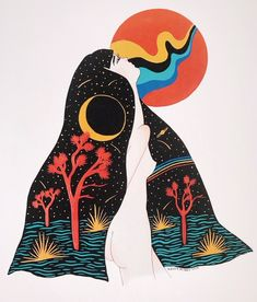 Chase the Sun Art Print Vintage Inspired Art Art Inspo, Art Hippie, Ligne Claire, Psy Art, Ouvrages D'art, Art Et Illustration, Psychedelic Art, Art Design, Aesthetic Art