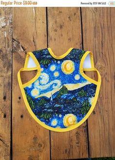 ON SALE Bapron waterproof, artist apron, Starry night bib, best bibs, best bib, waterproof bib, drool bibs, baby girl, baby boy, bibs for ar