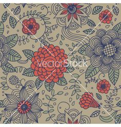 Vintage seamless pattern vector floral doodles  by Godami on VectorStock®