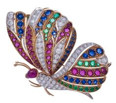 Italian manufactured gold, diamond, and precious stones butterfly brooch Insect Jewelry, Butterfly Jewelry, Animal Jewelry, Butterfly Pin, Or Antique, Antique Jewelry, Vintage Jewelry, Antique Toys, Gemstone Jewelry