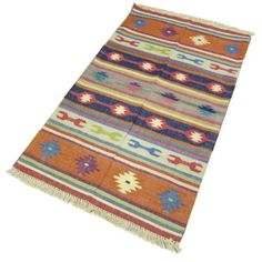 Amazon.com: Hand Knotted Floor Rugs Indian Dhurrie Cotton Home Décor 5 x 3 feet: Home & Kitchen