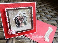 Christmas Joy Shaker Easel by Wendy Lee, Stampin Up, Stitched with cheer stamp set, Layering squares Framelits, mica flakes, Candy Lane Designer Series Paper, #creativeleeyours, Hand Made Christmas Cards