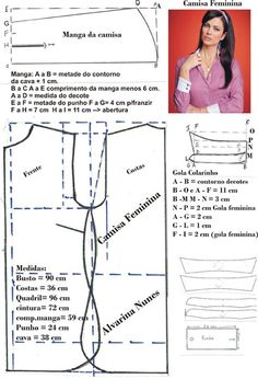 Costura e Modelagem Bodice Pattern, Top Pattern, Dress Sewing Patterns, Clothing Patterns, Costura Fashion, Sewing Blouses, Pattern Drafting, Fashion Sewing, Sewing Hacks