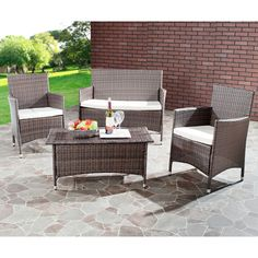 Have to have it. Safavieh Manning All-Weather Wicker Conversation Set - Seats 4 $764.4