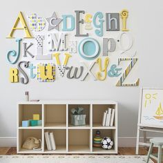 Lemon, Grey Turquoise Alphabet Wooden Wall Letters Full Set is part of Lemon Grey Turquoise Alphabet Wooden Wall Letters Full Set This complete set features the full A Z alphabet in a mix of fonts - Wooden Letters For Nursery, Wooden Alphabet Letters, Alphabet Nursery, Alphabet Wall Art, Letter Wall Decor, Kids Wall Decor, Nursery Wall Decor, Decorative Letters For Wall, Painting Wooden Letters