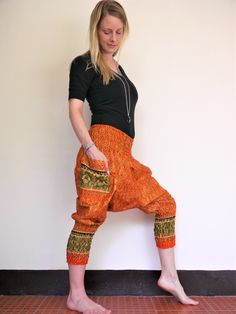 c2422fde4a798 Hula hoop pants, Yoga pants Capris, Orange Harem pants women, Amonchai yoga  pants, Cotton, Orange w Green & Gold Royal Design