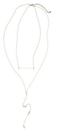 Women's Bp. Bar & Crystal Lariat Necklace
