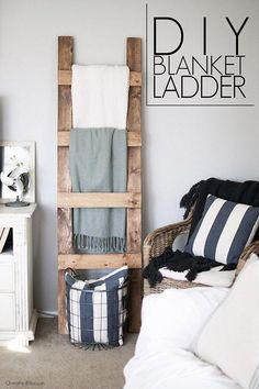 Speaking of ladders…Ashley over at Cherished Bliss has a fabulous farmhouse DIY Blanket Ladder Tutorial waiting for you. She shows you how to make this farmtastic ladder and it is so simple…a great afternoon DIY project! All your blankets will have a home Diy Home Decor Rustic, Easy Home Decor, Cheap Home Decor, Farmhouse Decor, Farmhouse Design, Farmhouse Furniture, Modern Farmhouse, Farmhouse Style, Cottage Diy Decor