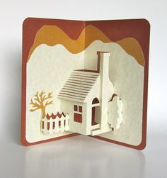 Pop-Up Card Home Décor Origamic Architecture Handmade in Ivory and Earth Tones of Shimmery Brown and Mustard Sand OOAK Home Pop-Up Card Home Décor Origamic Architecture by BoldFoldsHome Pop-Up Card Home Décor Origamic Architecture by BoldFolds Kirigami, Pop Up 3d, Arte Pop Up, Pop Up Karten, Pop Up Cards, Handmade Home Decor, Handmade Cards, Handmade Ideas, Paper Crafting
