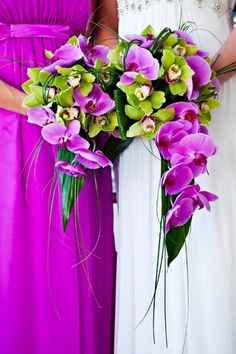 #lime green cattelaya # purple phaleanopsis orchid #wedding bouquets Oooooh, rissy! Orchids are prettttty! But prob quite expensive. Could just have them in your own bouquet though and could make it yourself so it's cheaper.