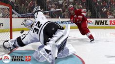 LA Kings qoalie Jon Quick making a diving save attempt in NHL 13