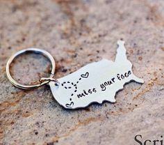 USA Keychain Long Distance Relationship Keychain by Nelliebead